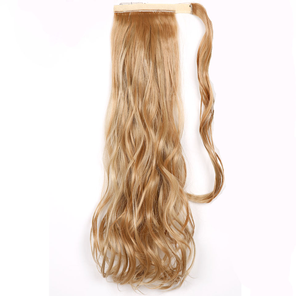 JINKAILI WIG Wavy Long curly High Temperature Fiber Synthetic Wrap Around Hairpieces Fake Hair Ponytail Extensions