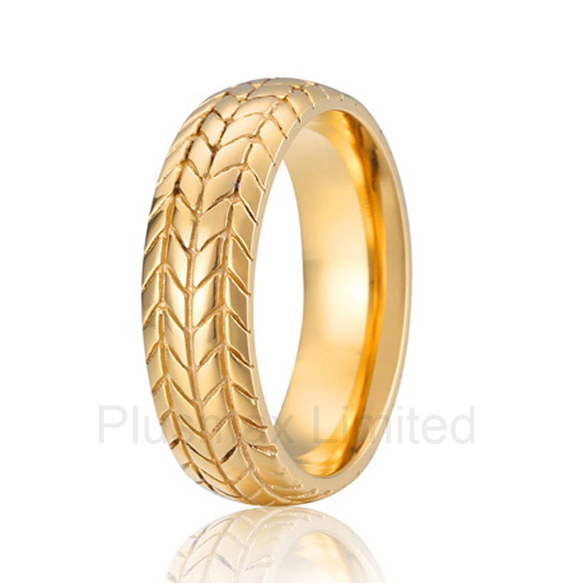 high quality anel ouro Beautiful pattern Design Securely Online buying titanium wedding band fashion ring for men anel custom size hammered pattern pure titanium steel jewelry engagement ring wedding band for men