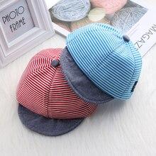 6b217650175d0 Bebé niño sombreros de verano rayas de algodón suave aleros casquillo del  Snapback del béisbol rayas sombrero boina sombrero jue.