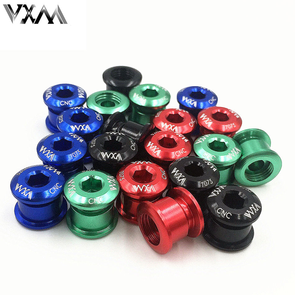 VXM 5PCS Chainwheel Bolts Bicycle Crankset Chainring Bolts&Nuts Road MTB Bike Disc Screws for Crankset Bicycle Parts Accessories