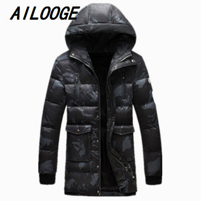 2016 new winter keep warm 90% White duck down black hoodies long jacket men,M,L,XL,2XL,3XL,4XL 5XL thick black winter coat men