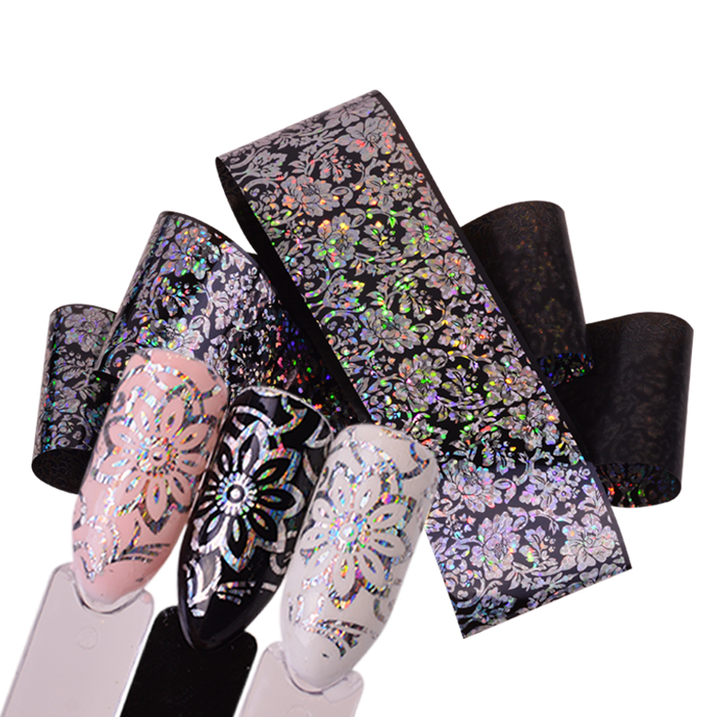 100cm Laser Nail Foil Sticker Holographic Flower Shiny Design Starry Transfer Paper Manicure Nail Art Decorations SAXK98-109 1 design laser cut white elegant pattern west cowboy style vintage wedding invitations card kit blank paper printing invitation