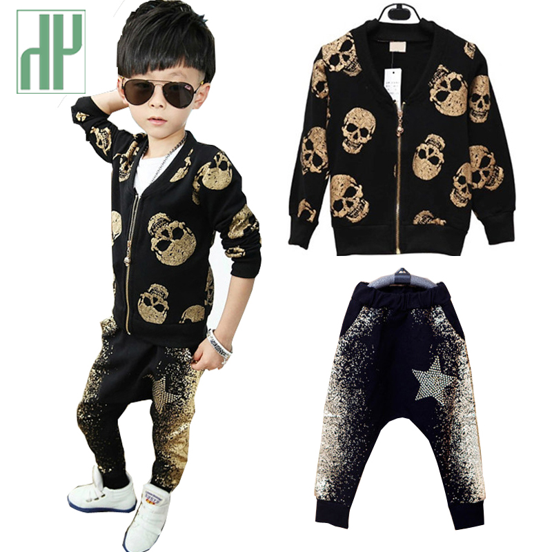 Baby Boy Clothes Fashion Skull Heads Cartoon Kids Clothes 2015 Brand Winter Autumn Boys Clothing