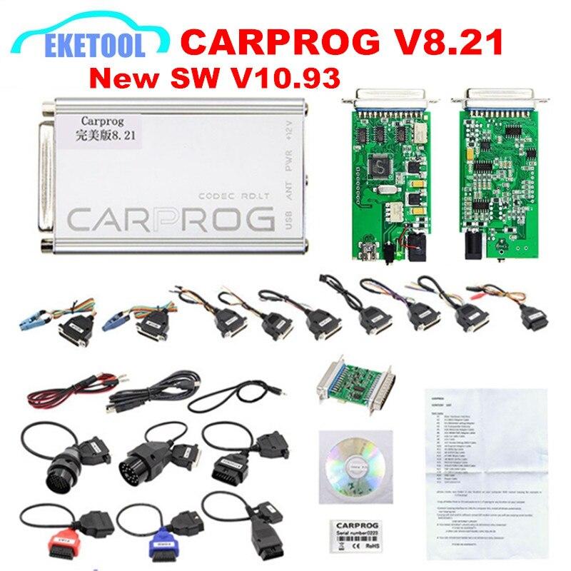 CARPROG V8.21 Perfeito Versão Online V10.93 V10.05 V8.21 Incluindo Autorização Total 21 Completa Adaptadores Prog Carro Ferramenta de Reparo Do Carro