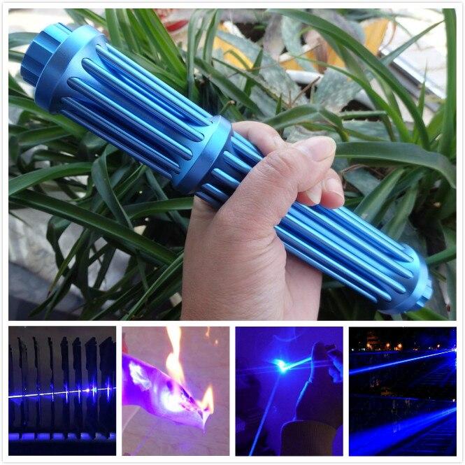 ¡Novedad de 2019! Pluma puntero láser de luz azul más potente de 445nm, encendedor de cigarrillos con foco de haz fuerte, linterna de caza de madera seca