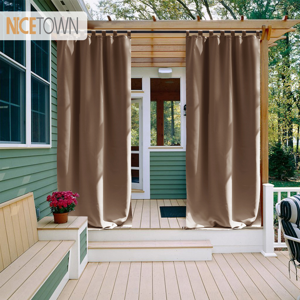 NICETOWN Outdoor Waterproof Curtain Tab Top Thermal Insulated Blackout Curtain Drape for Patio Garden Front Porch GazeboNICETOWN Outdoor Waterproof Curtain Tab Top Thermal Insulated Blackout Curtain Drape for Patio Garden Front Porch Gazebo