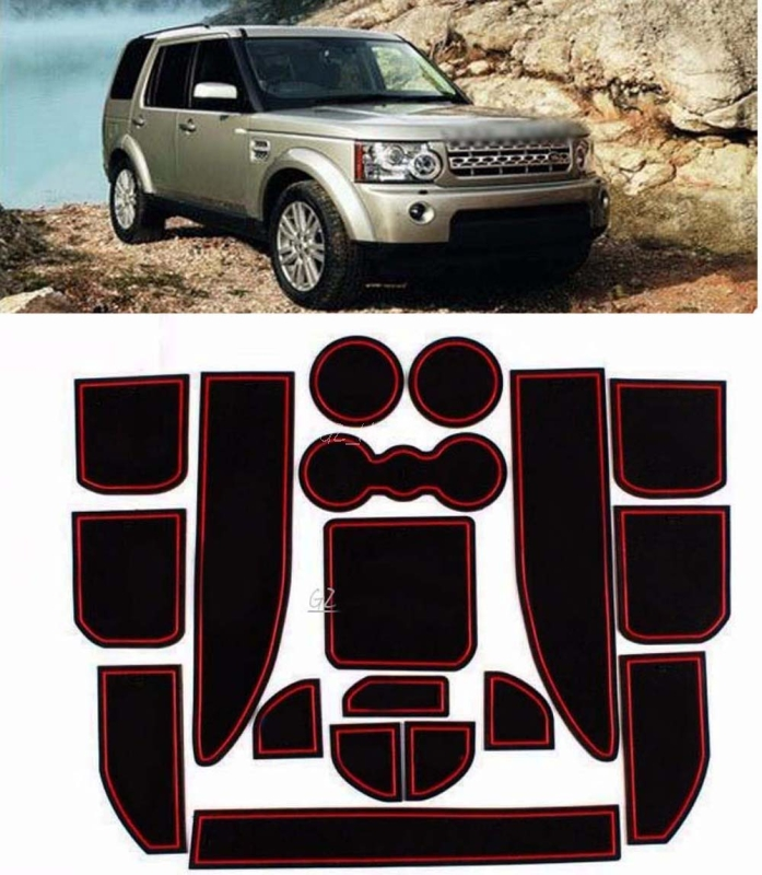 High quality Interior Non-slip Door Cup Holder Rubber Mats For Land Rover Discovery 4 With logo seven seats cars dedicated floor mats rubber feet thick waterproof latex non slip easy to clean carpets for highlander