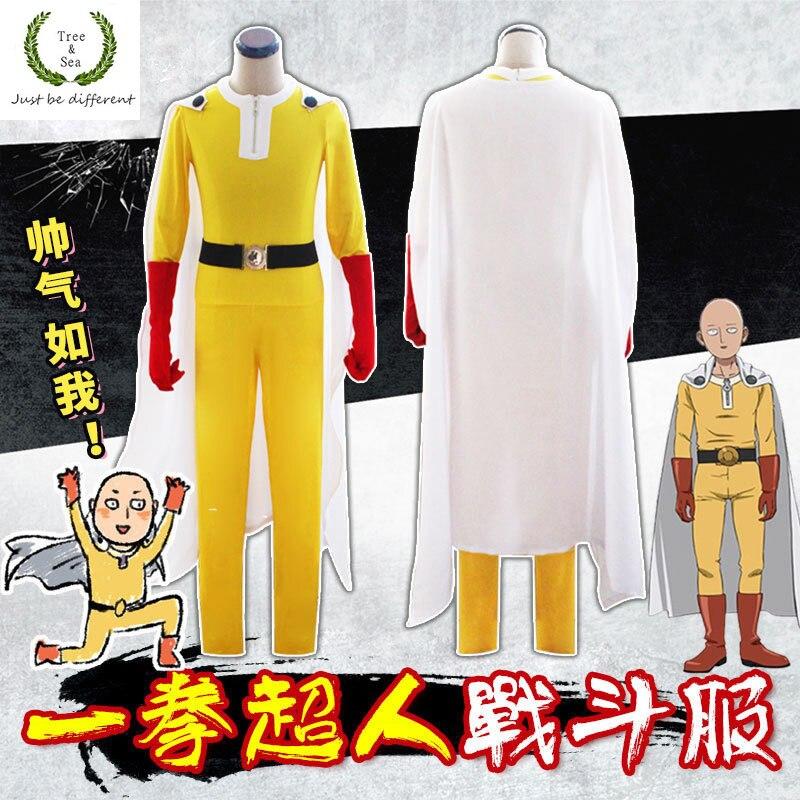 Japanischen Aime Ein Schlag Mann Kostüm Lehrer Saitama Oppai Anzüge mit cape Cosplay Overalls mit rot handschuhe volle sets