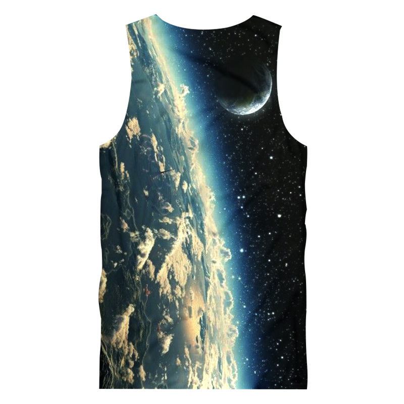Moon Space Vest Tank-Top Singlet Dress T-Shirt Mens Womens Ladies