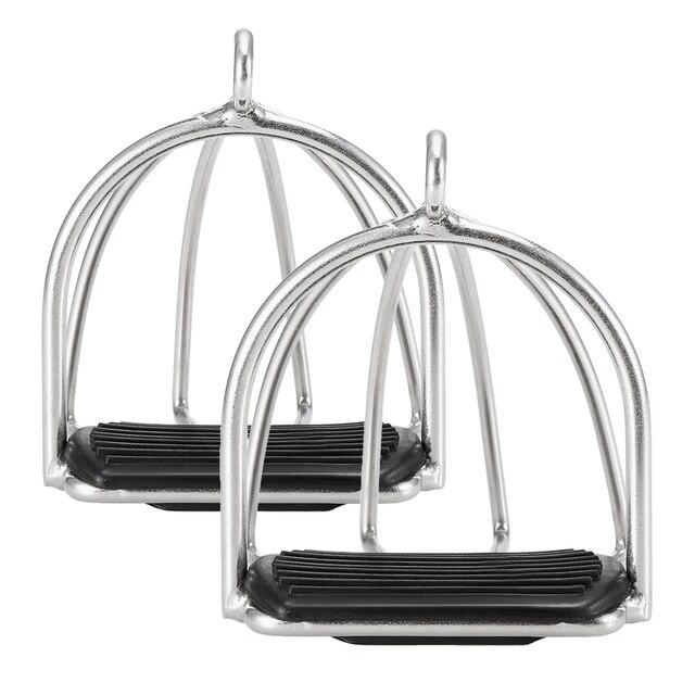 Produits de soins cheval, Cage antidérapante 2 pièces, étriers déquitation en acier flexible, équipement de sécurité pour pédale cheval