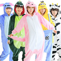 Adult Homewear Animal Stitch Tiger Unicorn Dinosaur Pajamas Autumn Winter Flannel Men Women Onesies Fleece Sleepwear