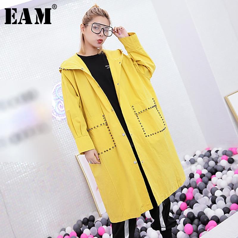 [EAM] 2018 Новый осень-зима 2 Цвет свободные с капюшоном заклепки два кармана Однобортный Mid длинное пальто Для женщин моды прилив JH477