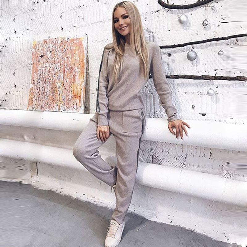 Knitted Sweaters Women's Sportswear Winter Long Sleeve Knitted Pullover + Pants Suit Two Black Stripe Tracksuits Knitting Set