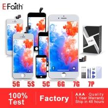 EFaith AAA 디스플레이 LCD 아이폰 5 5S 5C SE 아이폰 6 6P 6S 플러스 아이폰 7 8No 죽은 픽셀 터치 스크린 무료 선물