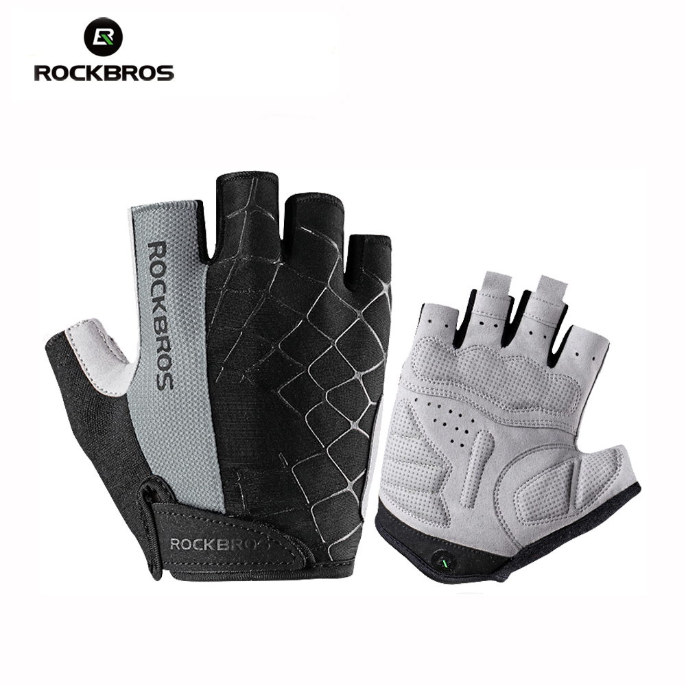 ROCKBROS Cycling Bike Half Finger Gloves Shockproof Breathable MTB Mountain Bicycle Gloves Guantes Ciclismo Bisiklet Eldiven coolchange cycling gloves half finger mens women s summer bicycle sport gloves breathable nylon mtb bike gloves guantes ciclismo