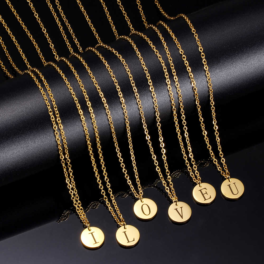 New Arrival 316L Stainless Steel 26 Letters Initial Necklace Wholesale Alphabet Disc Pendant Long Chain Necklaces for Women