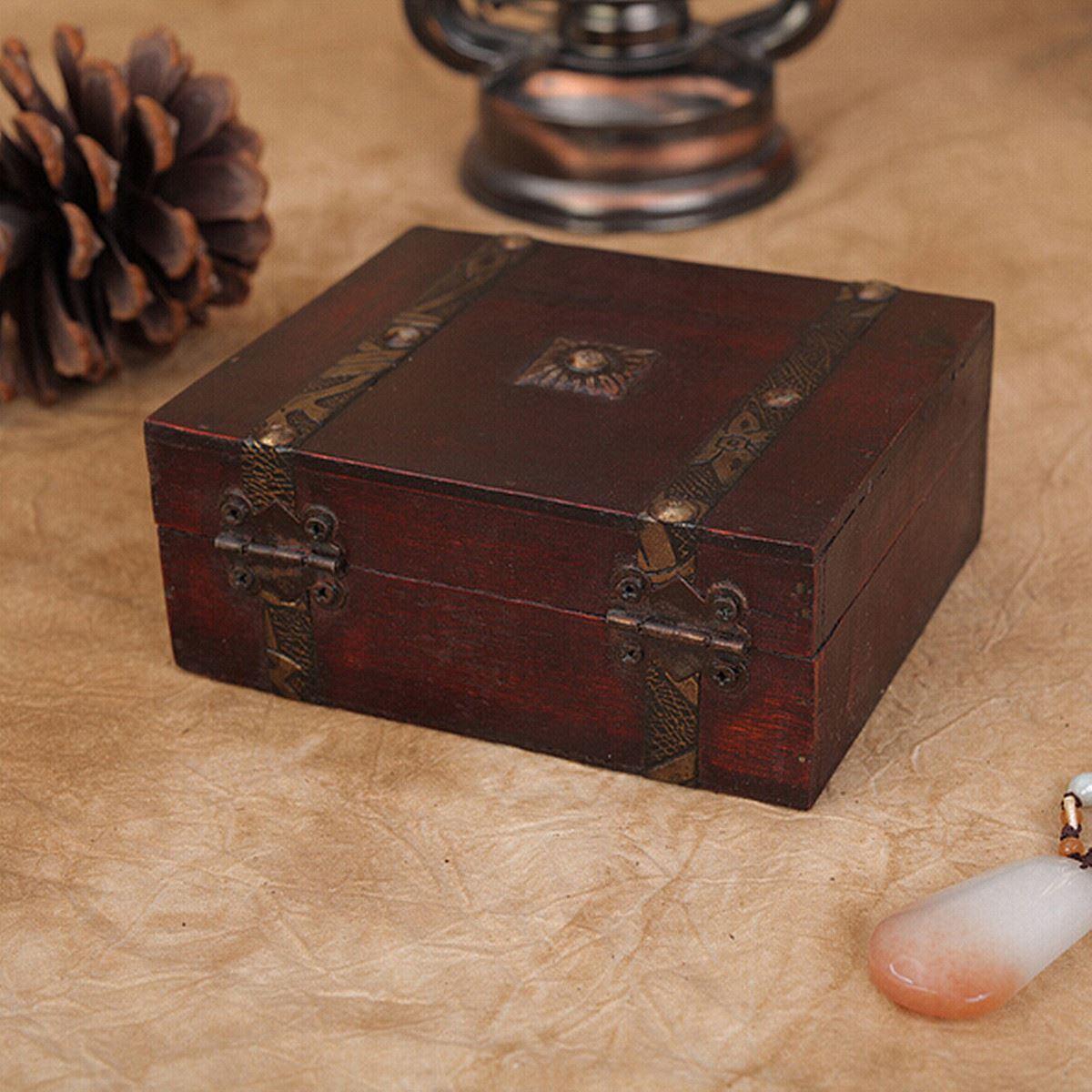 Vintage Wood Jewelry Storage Box Wooden Organizer Case Metal Lock