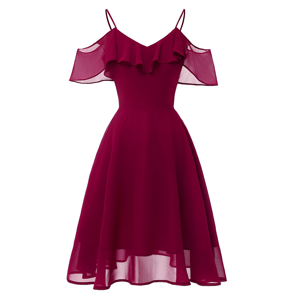 Dressv Burgundy Cocktail Dress Cheap Spaghetti Straps Short Sleeves Graduation Party Dress Ruffles Fashion Cocktail Dresses