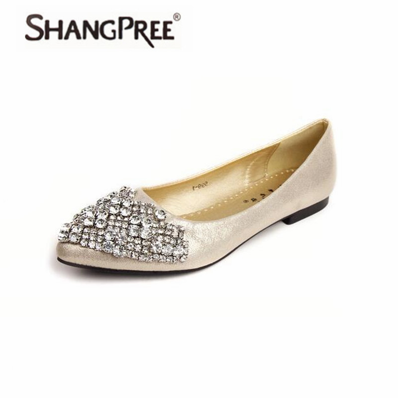 Hot Fashion 2017 Flats Shoes Women Ballet Princess  For Casual Crystal Boat Shoes Rhinestone Women Flats Shoes Large size 34-43 fashion pointed toe women shoes solid patent pu brand shoes women flats summer style ballet princess shoes for casual crystal