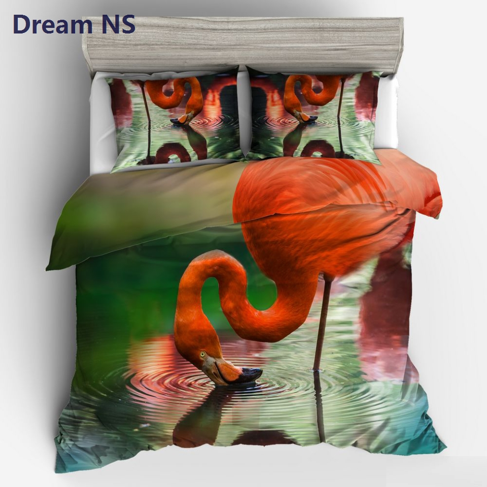 AHSNME Real Hot Red Flamingo Bedding Set Vivid Bird Bed Covering Adult Child Quilt Cover Sets Single Bed Pillowcase Sets