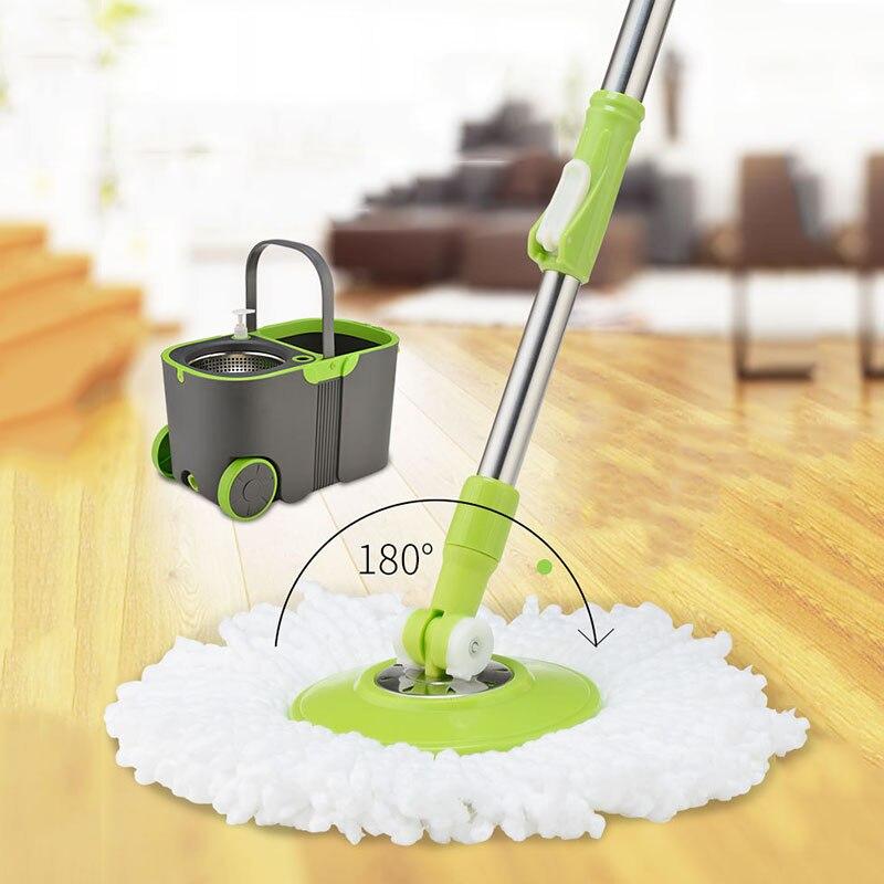 Système de nettoyage de sol et seau en microfibre à rouler de luxe en acier inoxydable avec 2 têtes de vadrouille en microfibre et 1 poignée d'extension