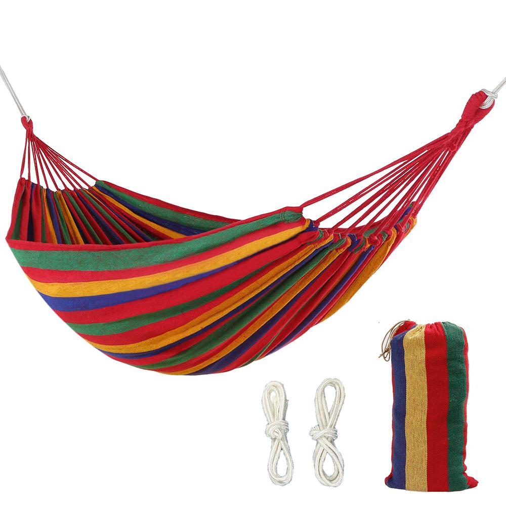 264Ibs Bearing Canvas Rainbow Hammock Double Portable Outdoor Camping Hammock Garden Leisure Adult Kid Hammock Bed With Backpack