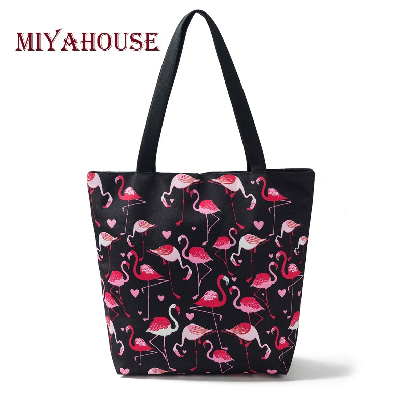 Miyahouse Flamingo Printed Shoulder Bag Women Large Capacity Canvas Casual Tote Female Shopping Bags High Quality Beach Bag Lady floral printed canvas tote female single shopping bags large capacity women canvas beach bags casual tote feminina