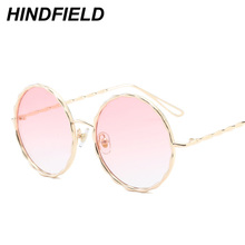 Newst Fashion Big Round Sunglasses Women Pink Transparent Eyewear Goggles Ladies Luxury Alloy Legs Shades Candy Color Oculos
