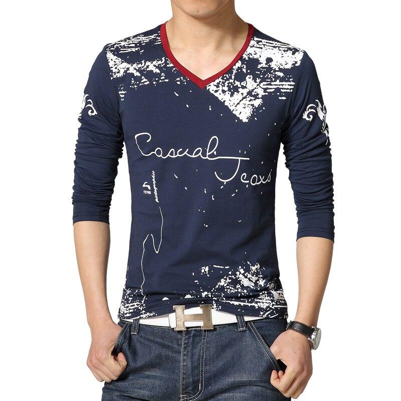 c0b0fbc5 New Letter Print V-Neck T Shirt Men Slim Fit Long Sleeve Cotton t-shirt men  camisetas 2015 Arrival Plus Size Mens Casual tshirt