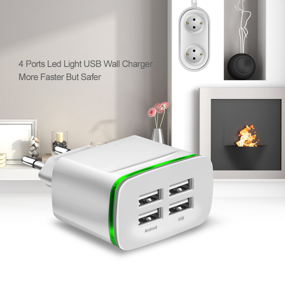 Universal USB Charger EU Plug 5V 4A 4 Port Led Light Travel Wall Charger Phone Adapter Charging For iPhone 8 X Samsung Huawei LG