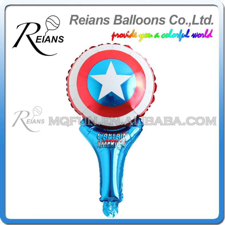Image 2 - 5pcs avenger super hero stick balloons cartoon figure handheld foil balloons party supplies birthday party decorations kids toys-in Ballons & Accessories from Home & Garden
