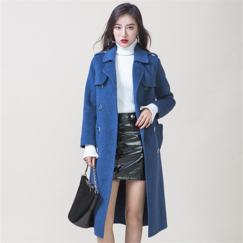 Lange Klassische Mantel Frau Zweireiher Mäntel Winter High end Herbst Doppelseitige Alpaka Blue Frauen Gp840 Wolle Kaschmir 2018 zw5qPzY