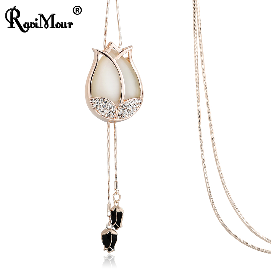 Women Lovely Long Chain Necklace  Chic Leaf Feather Tassel Pendant Necklace RS