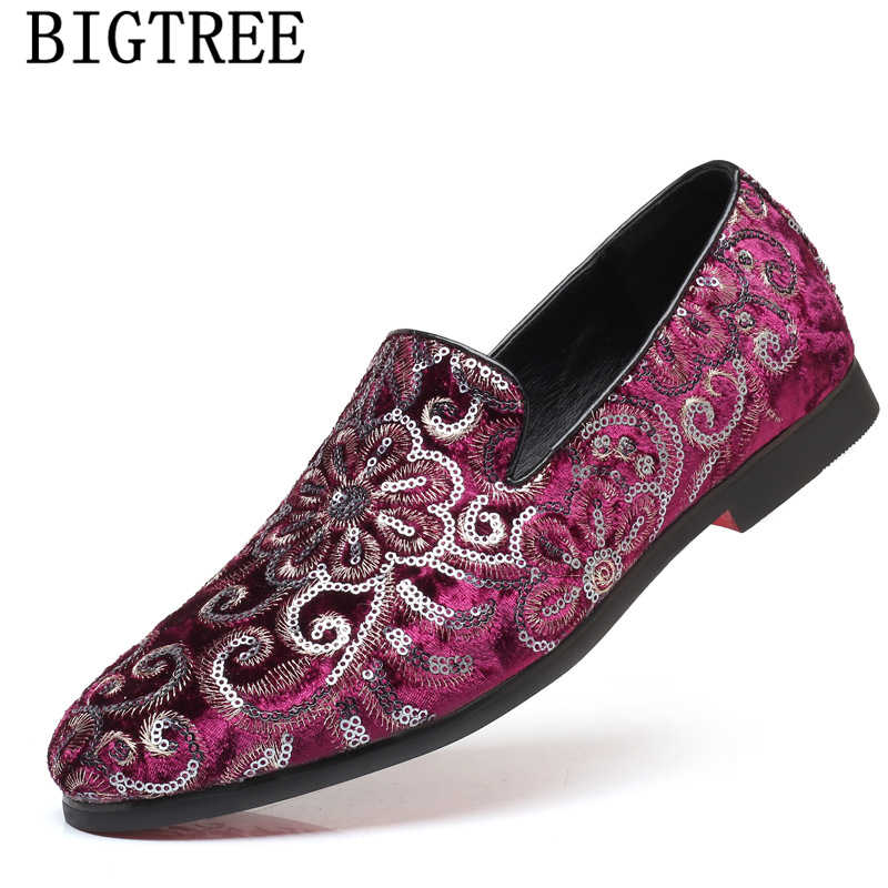Casual Dress Shoes for Men Elegant Moccasin Wedding Italian Floral Smoking Slipper Loafer Black Pink Red