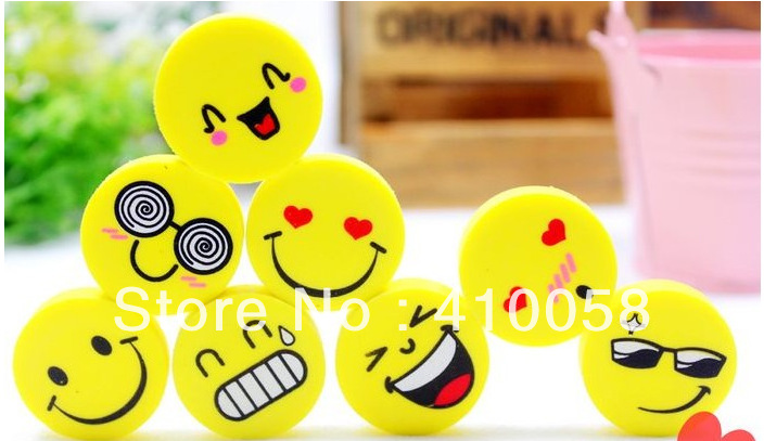 Freeshipping!!Super Promotion  Wholesale 150pcs/lot Simulation100% Smile Eraser Funny Face Eraser