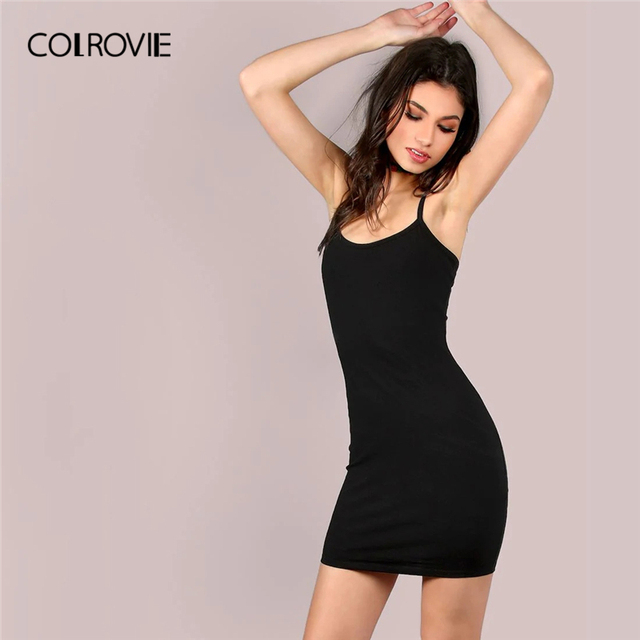 1448ebb391e COLROVIE Black Spaghetti Strap Bodycon Jersey Cami Sexy Slip Dress Women  2019 Summer Sleeveless Vestidos Basic Mini Dresses