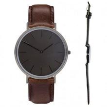 Todo el color negro correas de reloj de cuero genuino relojes de cuarzo Japonés movimiento negro horas