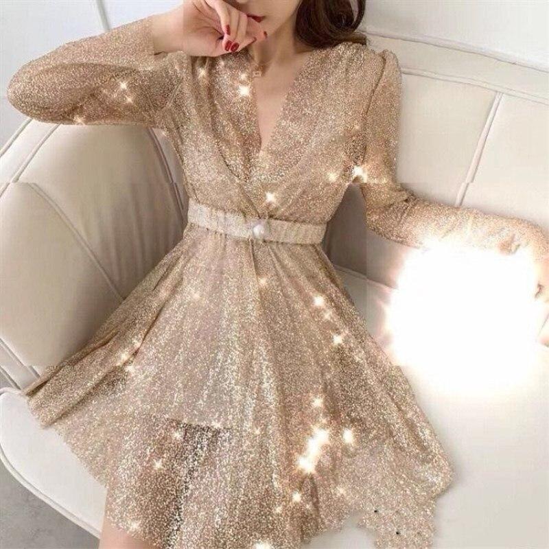3a9bd49c407 Longues Robe cou Manches 2019 Gold Brillant À Côté Fente Soirée Nouveau  Paillettes Sexy silver Femmes ...