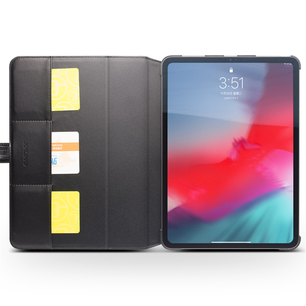 """QIALINO Genuine Leather Ultrathin Case For iPad Pro 12.9 2018 Flip Stents Dormancy Stand Cover Card Slot case for iPad Pro 11""""-in Tablets & e-Books Case from Computer & Office    3"""