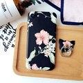 Caso retro flor + anel caso aderência para iphone 6 6 s plus tpu soft case para iphone 7 7 plus caso