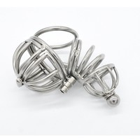 Stainless steel penis rings cage male chastity urethral plug balls ring stretcher cage sextoys for men metal cock ring cages