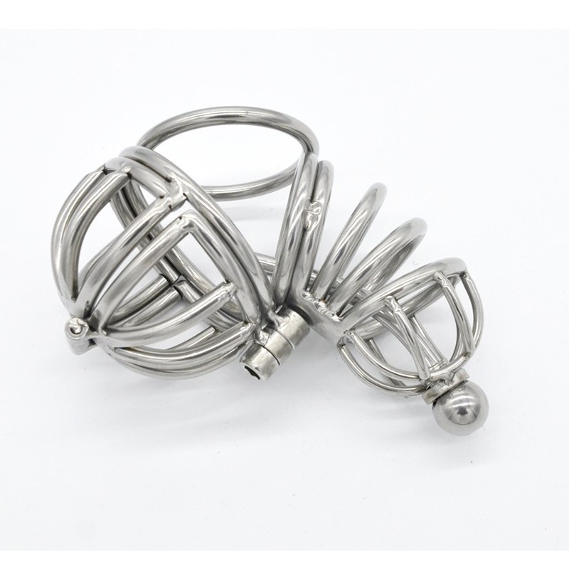 Stainless steel penis rings cage male chastity urethral plug balls ring stretcher cage sextoys for men metal cock ring cages new arrival luxury 316l stainless steel male chastity cage with arc shaped cock ring penis rings male chastity devices g7 1 207