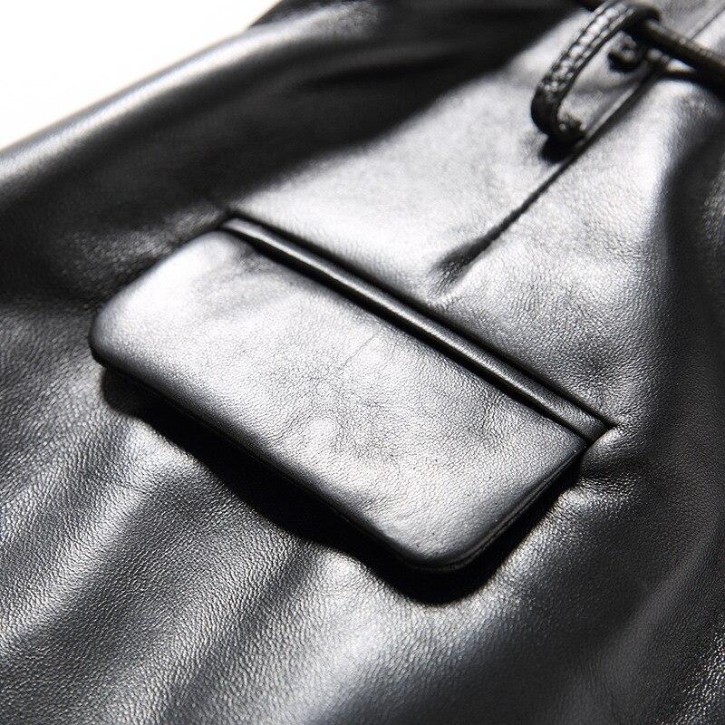 Новинка 2019, Модные женские сексуальные черные шорты из натуральной овчины на шнуровке, высококачественные женские прямые шорты, юбки 3XL - 4