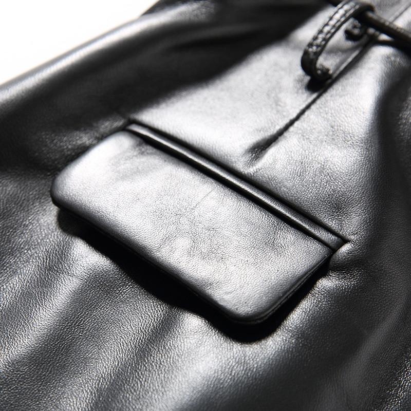 2019 nouvelle mode femmes Sexy noir en cuir véritable en peau de mouton Shorts à lacets mince haute qualité femme droite Shorts jupes 3XL - 4