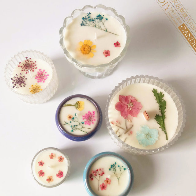 New Arrived DIY Aromatherapy Natural Immortalized Vacuum Dry Flowers Handmade Birthday Candles Scented Candle Wedding Decoration