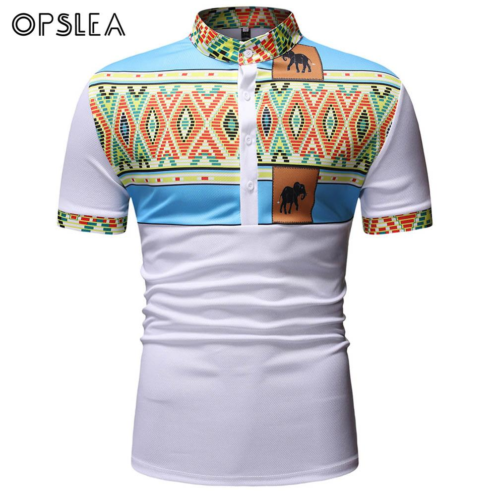 Opslea Dashiki African Men Contrast Elephant Print T-Shirt Henry Collar Short Sleeve Top African White Tribal Pattern Clothes