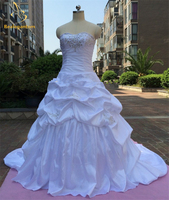 Bealegantom Real Photo Sexy Ball Gown Wedding Dresses 2017 Taffeta Appliques Lace Up Bridal Gowns Robe