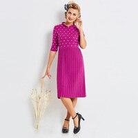 Sisjuly Women S Vintage Dress 2017 New Autumn Winter Purple Half Sleeve Knee Length Stand Dress