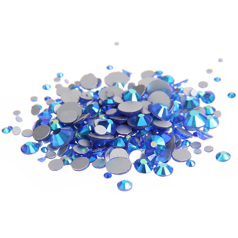 Sapphire AB Non Hotfix Glass Rhinestones Flatback Machine Cut Round Glue On Strass Crystal And Stones DIY 3D Nail Art Decoration ss16 4mm cobalt blue nail rhinestones 1440pcs bag non hotfix flatback glass glitters crystals for diy nail art strass stones