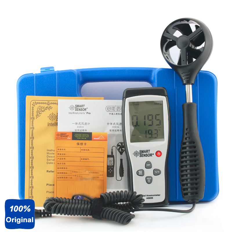 100% Original AS836 Digital Wind Speed Gauge Meter Anemometer Wind Speed Direction 45m/s Relative Air Temperatur free shipping gm8901 45m s 88mph lcd digital hand held wind speed gauge meter measure anemometer thermometer